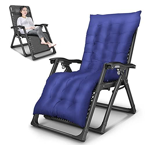 AMAFS Sedia reclinabile Patio Lettini da Sole Sedia a Sdraio Zero Gravity Sedie a Sdraio Oversize Sedia da Spiaggia Pieghevole, con Cuscino per la Testa e Cuscino in Cotone Staccabile Festival