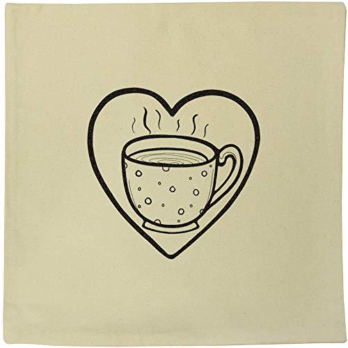 Azeeda 'Heart Tea' Canvas Cushion Cover (CV00018391)