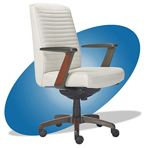 La-Z-Boy Emerson Modern Executive Office Chair with Rich Wood Inlay, Ergonomic High-Back Lumbar Support, Bonded Leather, White