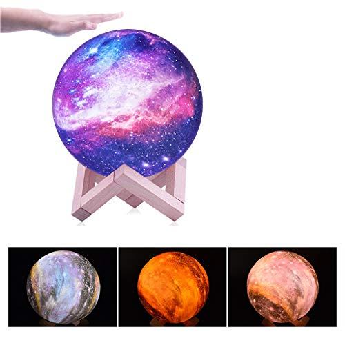 QFFL Mondlampe 3D Galaxy Moon Light Lampen Klein und Tragbar 3 Farben Berühren Das Nachtlicht mit Stand Geburtstag Teen Geschenke für Mädchen Jungen Kinder Spielzeug (Color : 3 Color, Size : 15cm)