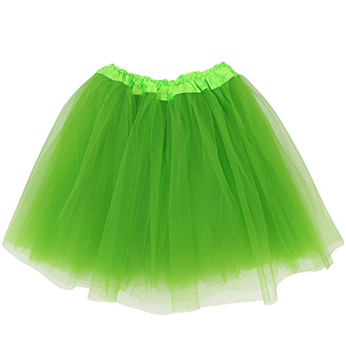 Adult Size 3-Layer Tutu Skirt - Princess Costume Ballet Party Warrior Dash/Run (Lime Green),One Size