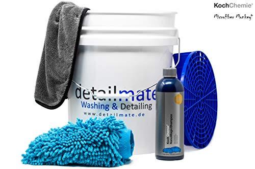 detailmate Set Auto Reinigung - Koch Chemie Nano Magic Shampoo 750ml, Eimer 5 GAL (ca. 20L), Grit Guard Schmutz Einsatz, super saugfähiger Wasch Handschuh Chenille beidseitig Komplett