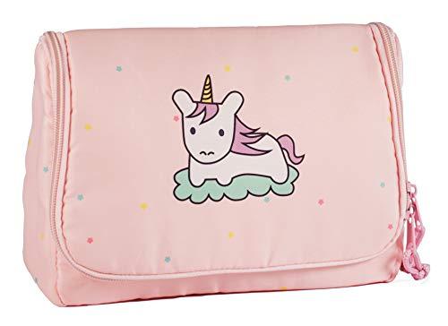 Kulturtasche Kulturbeutel Waschtasche für Kinder Mädchen rosa Einhorn Tasche zum Aufhängen leicht kompakt Unicorn groß pink Pferd Kosmetiktasche Kids süß