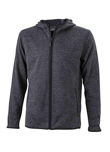 2Store24 Men's Knitted Fleece Hoody in Dark-Melange/Black Taille: L