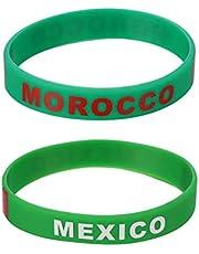 NUOBESTY Pulsera de Silicona Del País Pulsera de La Bandera Nacional Pulsera de La Copa Del Mundo Deportivo Regalo para Mujeres Hombres Concursantes 12 Piezas (Marruecos)