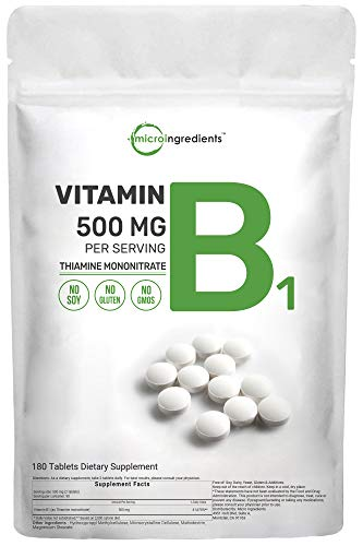 Micro Ingredients Vitamin B1 Supplement, Vitamin B1 500mg Per Serving, 180 Tablets, Support Metabolism and Healthy Nervous System, Non-GMO