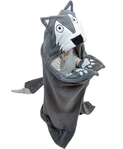 Lazy One Animal Blanket Hoodie for Kids, Hooded Blanket, Wearable Kids' Blanket, Soft, Cozy Fleece Hoodie (Wolf Blanket)