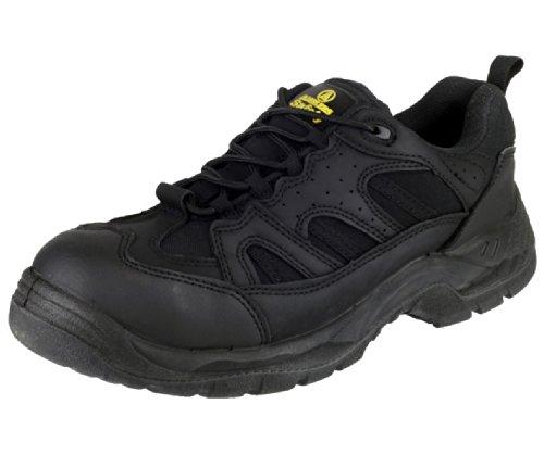 Amblers Steel Lace-Up Textile Lined Mens Shoes - Black - Size 13