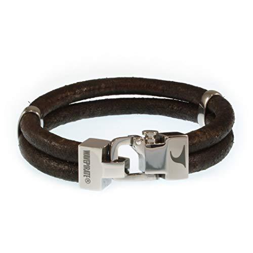 WAVEPIRATE® Echt Leder-Armband Turn R D'Braun 22 cm Edelstahl-Verschluss in Geschenk-Box Surfer Herrenarmband Männer