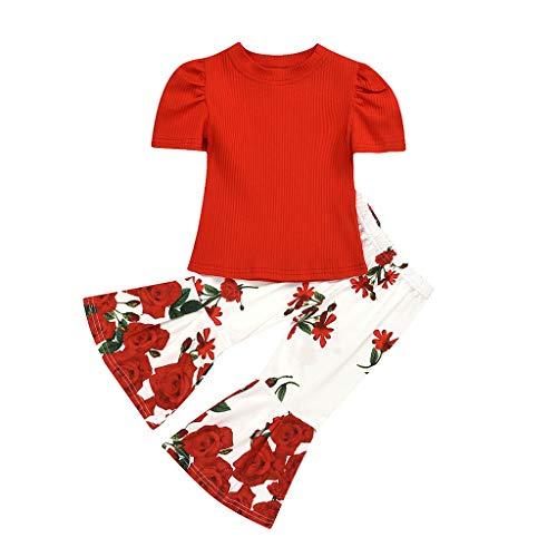 Moneycom Niños Cuello Redondo Crripe Pure Color Manga Corta Chaqueta Impresión Corne Pantalones Rojo Rojo 5-6 Años