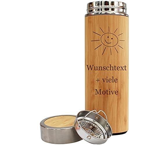 Isolierflasche mit Name, Spruch + Motiv Gravur - Trinkflasche in Holz Optik 400 ml, Thermosflasche für Kaffee oder Tee, personalisiertes Geschenk für Männer und Frauen