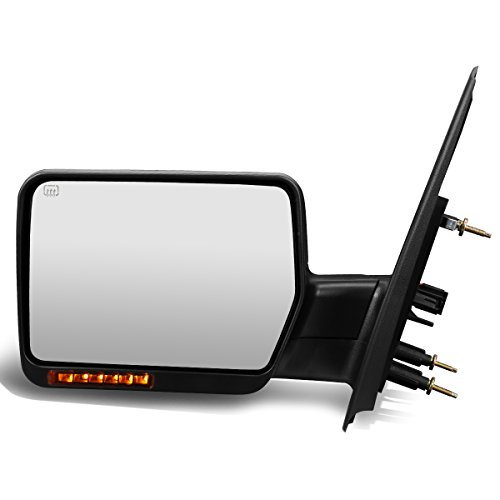 Left Driver Side Black Power Heated Foldable w/LED Turn Signal Rear View Towing...
