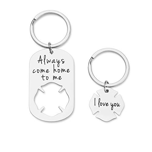 Firefighter Keychain Gifts for Husband Boyfriend from Wife Girlfriend Personalized Birthday Valentines Key Chain Charm Gifts Always Come Home to Me I Love You Fireman Gifts for Dad Son Women Men