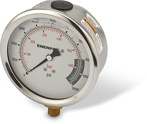 """Enerpac G4088L 4""""-Dia. Hydraulic Pressure Gauge with Dual 0 to 10,000 PSI and 0 to 700 Bar Range, 1/4"""" NPTF Male Lower-Mount Connection"""