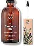 GEL ALOE VERA BIO | Fabriqué avec Pulpe d'Aloe Fraîche 100% Pure et Lavande Bio | Sans Xanthane | Visage, Contour des Yeux, Corps, Cheveux | Bouteille en Verre + Pompe (100ml)