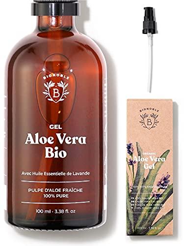 GEL ALOE VERA BIO | Fabriqué avec Pulpe d'Aloe Fraîche 100% Pure et Lavande Bio | Sans...