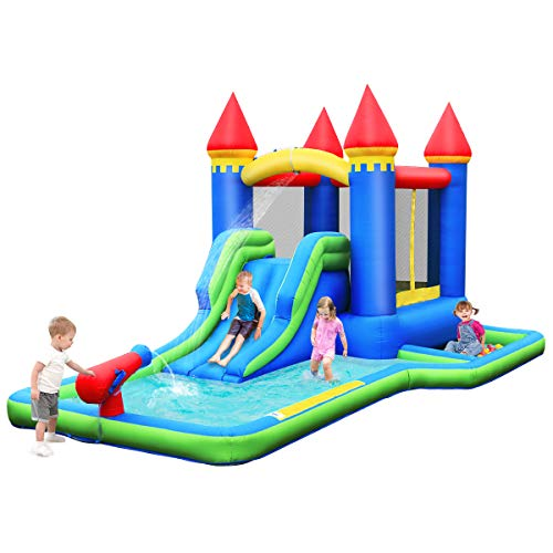 BOUNTECH Inflatable Bounce House, Kids Castle Water Slide with Climbing Wall, Jump Area, Water Cannon, Splash Pool, Including Oxford Carry Bag, Repair Kit, Stakes, Hose, Ocean Balls (Without Blower)