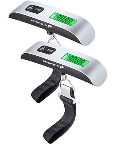 Fosmon (2個セット) 荷物 旅行はかり デジタル はかり/ベルト吊り下げ式ラゲッジチェッカー/計量器/携帯式デジタル スーツケース スケール 【測定可能単位:kg, g / 最大50kgまで量れる / ステンレス仕上げ/LCD液晶ディスプレイ/温度