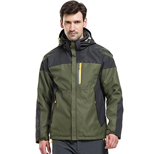 CIKRILAN Homme 3 en 1 Veste Coupe-Vent Imperméable Respirante Outdoor Sport Camping Randonnée Trekking Manteau (XXX-Large, Armée Verte)