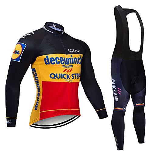 PGone Belgien Racing Club Rennrad Radsport Langarmtrikot, Feuchtigkeitstransport, Sport Deceuninck Quickstep-Team Fahrrad im Freien Sportbekleidung Anzug (Size : Medium)