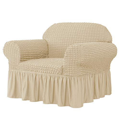 CHUN YI Universal Sofa Slipcover with Skirt 1-Piece Fitted Couch Cover All-Purpose Furniture Protector, Washable High Elastic Durable Seersucker Fabric (Small,Light Khaki)