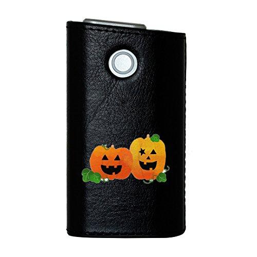 glo グロー グロウ 専用 レザーケース レザーカバー タバコ ケース カバー 合皮 ハードケース カバー 収納 デザイン 革 皮 BLACK ブラック ハロウィン かぼちゃ おばけ 012741