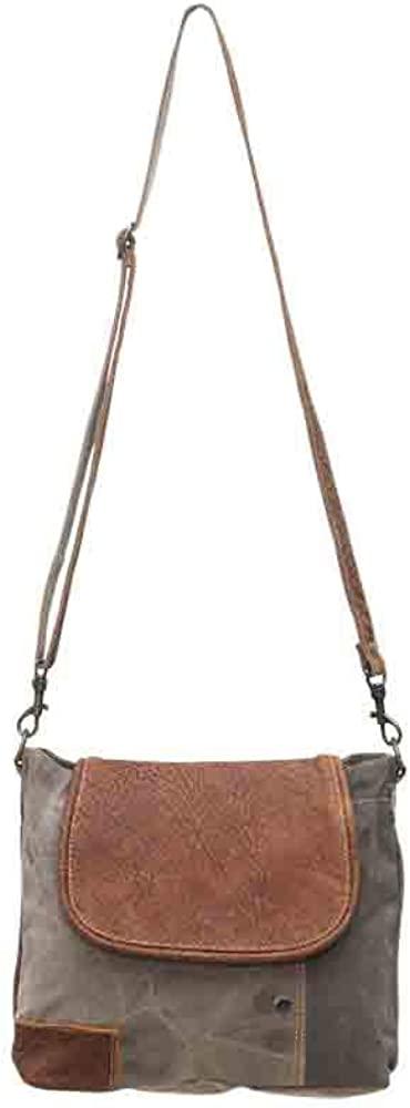Myra Bags Flap-Over Upcycled Canvas Shoulder Bag S-0769