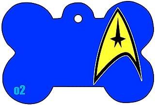 c1 Star Trek Badge Star Fleet Art Logo Dog Pet Cat ID Tag Bone Shape Image PhotoPersonalized with Key Ring (Face)
