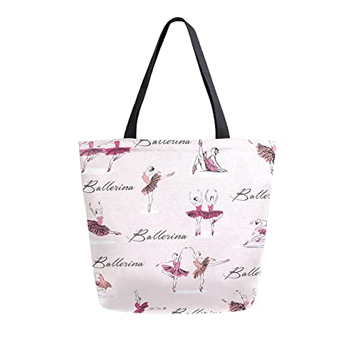 LUCKYEAH - Bolso de lona para mujer, diseño de bailarín de ballet, bolsa de hombro grande, reutilizable, bolsa de compras para niñas y mujeres