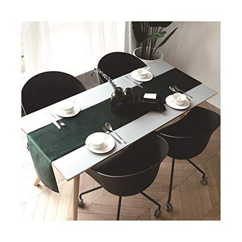 Dreamdge Tischläufer Dunkelgrün 32x200cm, Tischläufer Tischdeko Abwaschbar Samt Rein