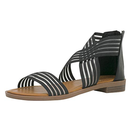 Fitters Footwear That Fits Damen Sandale Christina Synthetik Bequem Gummiband perfekte Passform Übergröße (45 EU, schwarz)