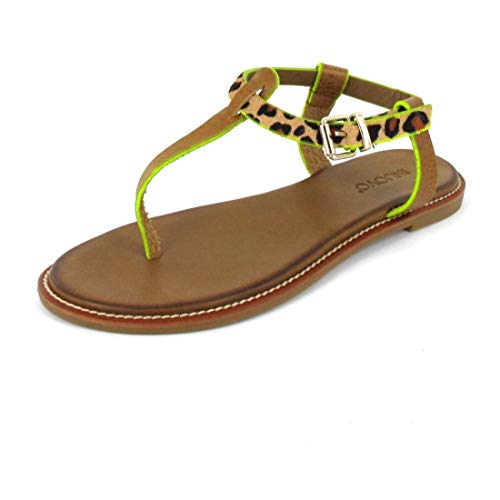 Inuovo Sandalette Sandals Camel-Leo- Neon Y Größe 39, Farbe: Camel-Leo- Neon Yellow