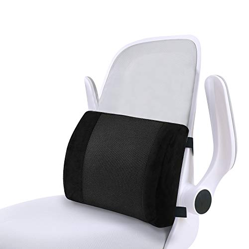 Comfortable Lumbar Support Cushion for Office Chair Car Seat, Memory Foam Back Support Pillow with Adjustable Strap and Washable Cover Cushion, Best for Office/Car/Home/Airplane/Travel (Black)