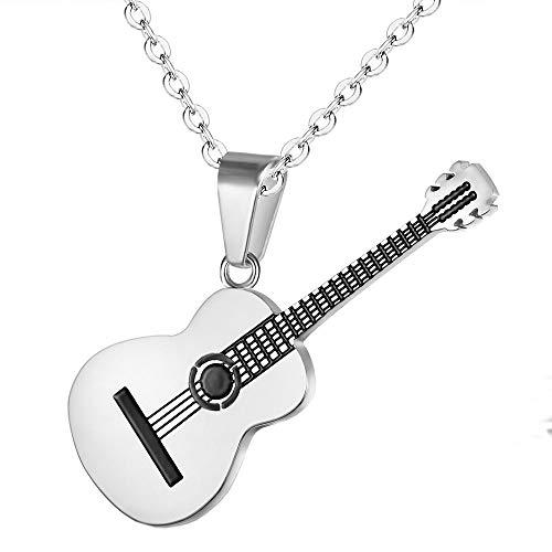 OAKKY OKKY Joyería Amante de la Música Guitarra Colgante Encanto Collar Unisexo Acero Inoxidable, Plata