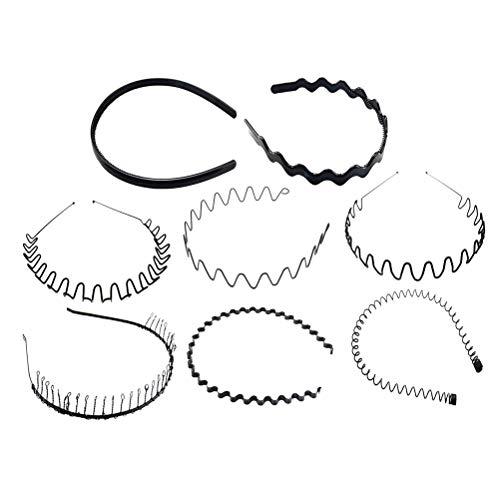 Bandeau unisexe simple de ressort noir de bandeau 8pcs pour le lavage de visage de sports