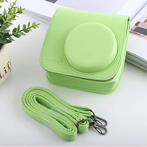 GLAUKS Estilo Retro Amplia Caja de la cámara Cuerpo de la PU Bolsa de Cuero con Correa for instax FUJIFILM Mini-9 / Mini-8 + / 8 Minifalda (Negro) Estuche para la Camara (Color : Green)