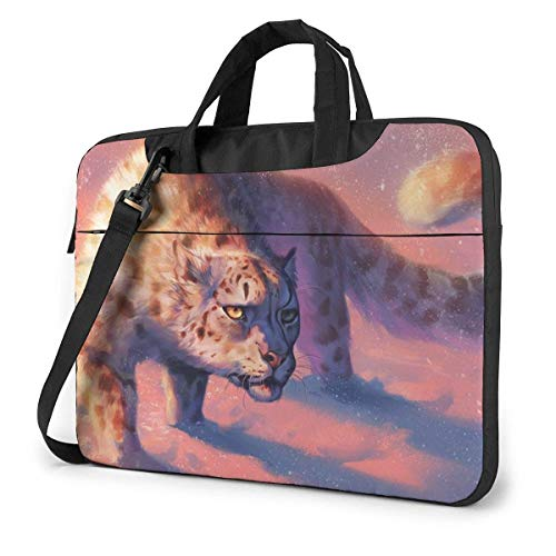 Laptop Shoulder Bag 14 Inch, Snow Leopard Briefcase Protective Bag