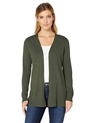 Amazon Essentials Women's Lightweight Open-Front Cardigan Sweater, Olive, Large