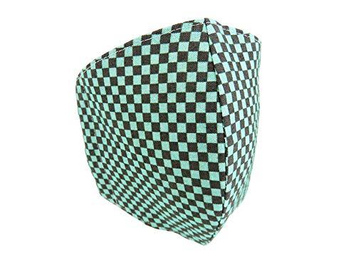 鬼滅の刃風 マスク いちまつ柄 緑×黒 布マスク 繰り返し使えるマスク 布製 洗える 日本製