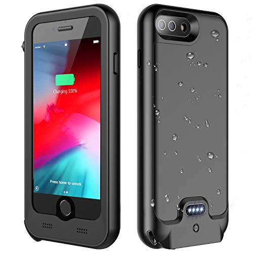 ATOP iPhone 7 Plus / 8 Plus Battery Case, 4800mAh Full-Body Rugged Charger Case with Built-in Screen Protector Compatible QI Wireless Charging IPX5 Waterproof Heavy Duty Shockproof Charging Case
