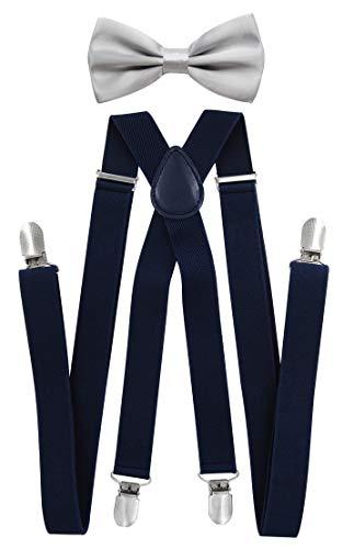 axy - bretelle per pantaloni da uomo con papillon–4Clip a forma di X con tenuta forte Blu nero (bretelle larghe 2,5 cm) + papillon grigio chiaro. taglia unica