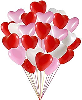 Valentines Day Balloons 100 Packs Heart Balloons latex Balloons for Wedding Decoration Birthday Decoration or Anniversary Decoration - Pink/White/Red