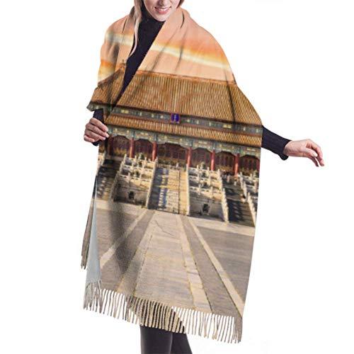 Nifdhkw Sciarpa stampata 27'x77 Antichi palazzi reali della Città Proibita in Bei Una sciarpa da donna Scialli da ragazza