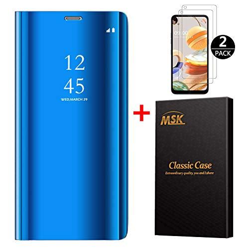 MSK Hülle für LG K61 Hülle + [2 Stück] Schutzfolie,Mirror Flip Cover Leder Handyhülle Klapphülle Schutzhülle Tasche mit Standfunktion für LG K61,Blau