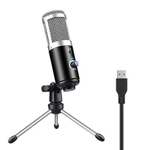 Yoging - Micrófono con condensador USB, micrófono de tarjeta de sonido en directo con trípode para transmisión en directo