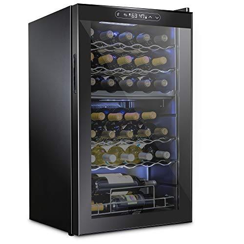 Schmecke 33 Bottle Dual Zone Wine Cooler Refrigerator w/Lock | Large Freestanding Wine Cellar | 41f-64f Digital Temperature Control Wine Fridge For Red, White, Champagne or Sparkling Wine - Black