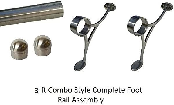 2 OD Satin Stainless Steel Home Bar Foot Rail Kit 3 Ft Long