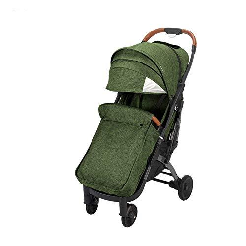 kyman Cochecito de bebé 2020, carruaje de bebé, Camiones para bebés portátil, Canasta de Compras Grandes, cómodo cojín de Asiento, pie Muff (Color: púrpura) (Color : Navi Green)