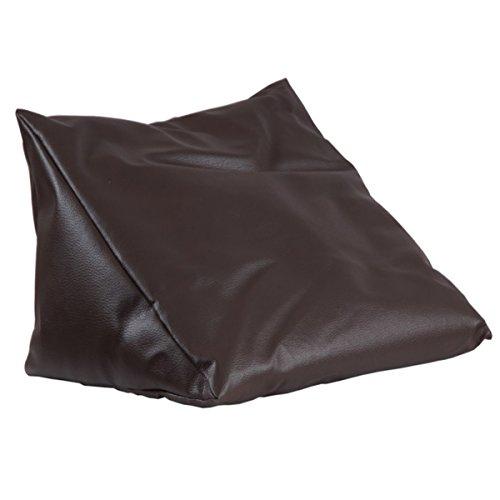 Lesekissen braun Rückenstütze aus Kunstleder für Bett; Couch, Fernsehen, Rückenkissen für bequemes sitzen, Keil- Nackenkissen mit Schaumstoffflocken