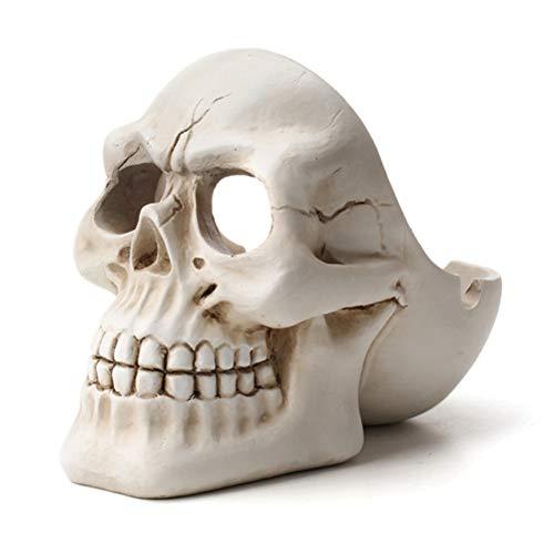 WUHUAROU Skull Ashtray Tobacco Ash Box Sculpture Statue Container Decoration Retro Vintage Skull Home Office Bar Ornament Crafts Man Gift (Color : White)